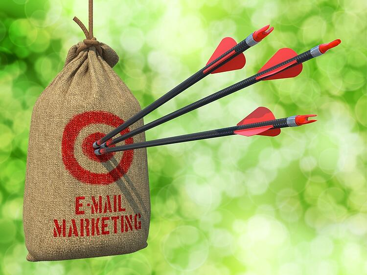 E-mail Marketing - Three Arrows Hit in Red Target on a Hanging Sack on Natural Bokeh Background..jpeg